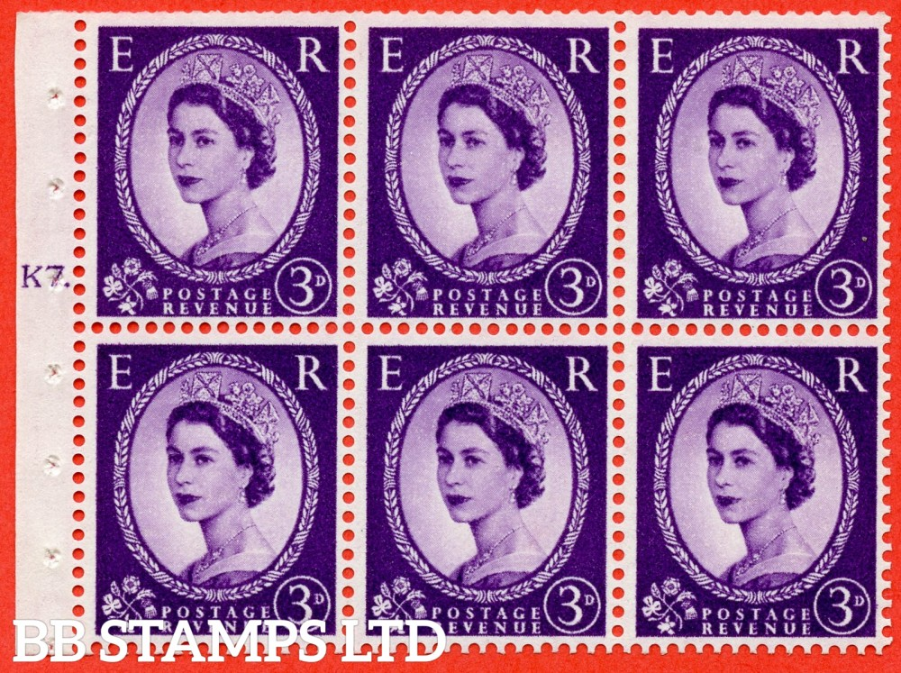 "SG. 545. SB90. 3d Deep Lilac. A fine UNMOUNTED MINT cylinder "" K7 T  dot "" booklet pane of 6. Perf type (Iet) with GOOD PERFS. Smooth edge."