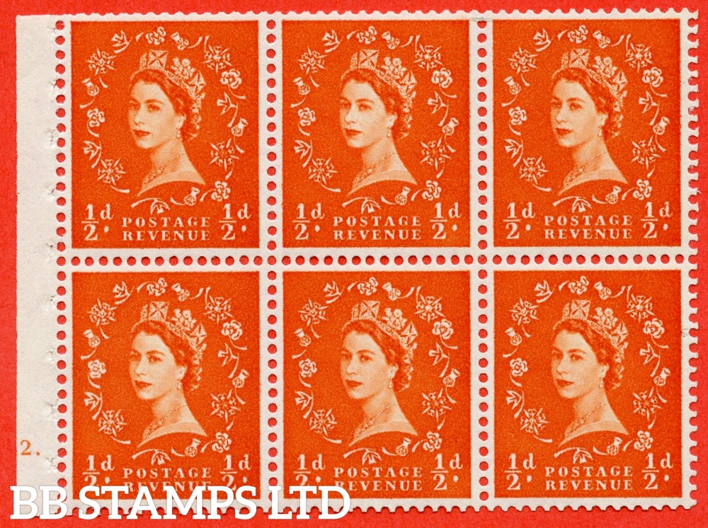"SG. 570. SB8. ½d orange - red. A fine UNMOUNTED MINT cylinder "" E12 dot "" booklet pane of 6. Perf type (Iet) with TRIMMED PERFS. Smooth edge White paper."