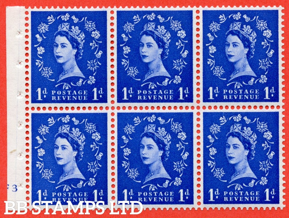 "SG. 541. SB26. 1d ultramarine. A fine UNMOUNTED MINT cylinder "" F3 no dot "" booklet pane of 6. Perf type (I) with GOOD PERFS. Smooth edge."