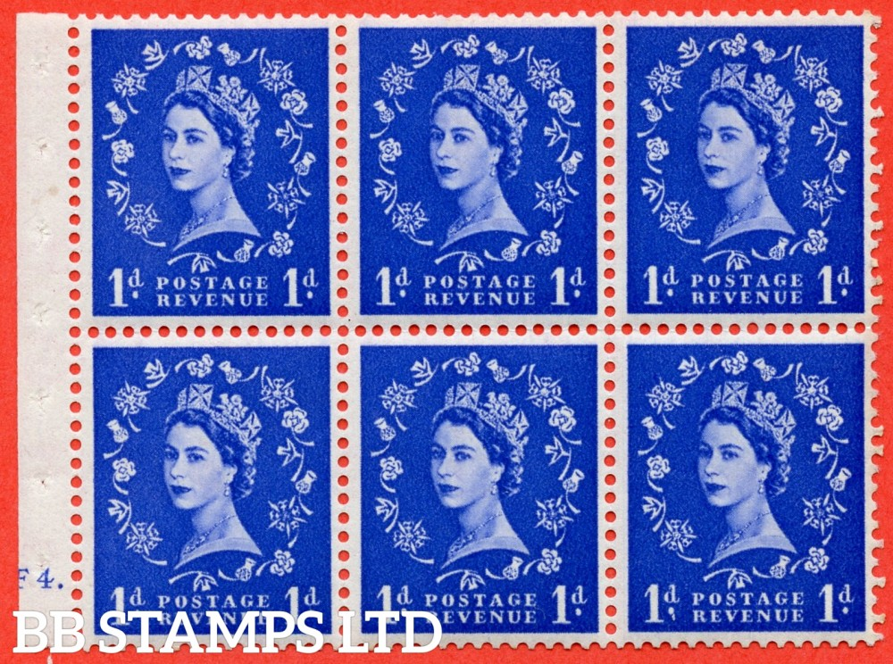 "SG. 516. SB20. 1d ultramarine. A fine UNMOUNTED MINT cylinder "" F4 dot "" booklet pane of 6. Perf type (Ieb) with GOOD PERFS. Smooth edge. Dot in Serif of "" 1 "" Flaw R1/3."