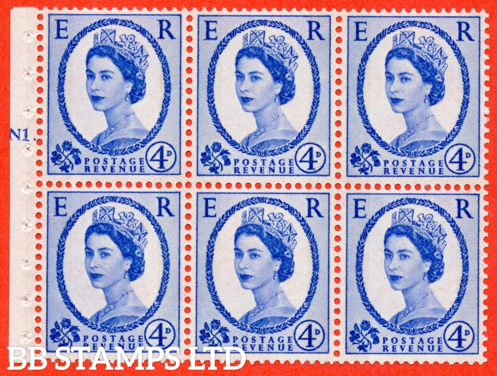 "SG. 616a. SB109. 4d Deep Ultramarine. A fine UNMOUNTED MINT cylinder "" N1 T dot "" booklet pane of 6. Perf type (Iet) with GOOD PERFS. Smooth edge. White Paper."