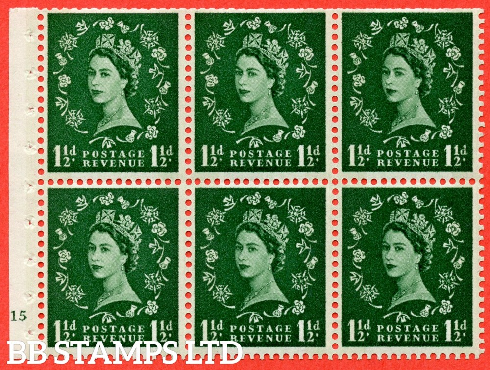 "SG. 612. SB72. 1½d Green. A fine UNMOUNTED MINT cylinder "" G15 no dot "" booklet pane of 6. Perf type (I) with TRIMMED PERFS. Smooth edge. Cream Paper."