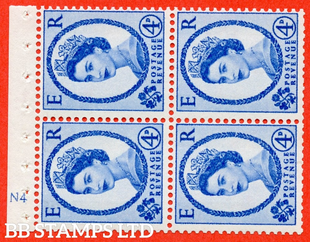 "SG. 616a. SB112a. 4d Deep Ultramarine. A fine UNMOUNTED MINT cylinder "" N4 ( Wmk Right ) no dot "" booklet pane of 4. Perf type (I) with GOOD PERFS. Smooth edge."