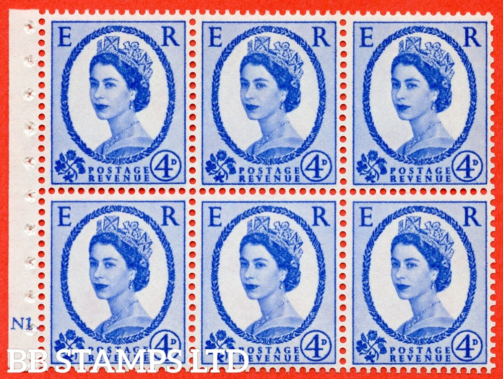 "SG. 576a. SB105. 4d Deep Ultramarine. A fine UNMOUNTD MINT cylinder "" N1 dot "" booklet pane of 6. Perf type (Ieb) with GOOD PERFS. Smooth edge. White paper."