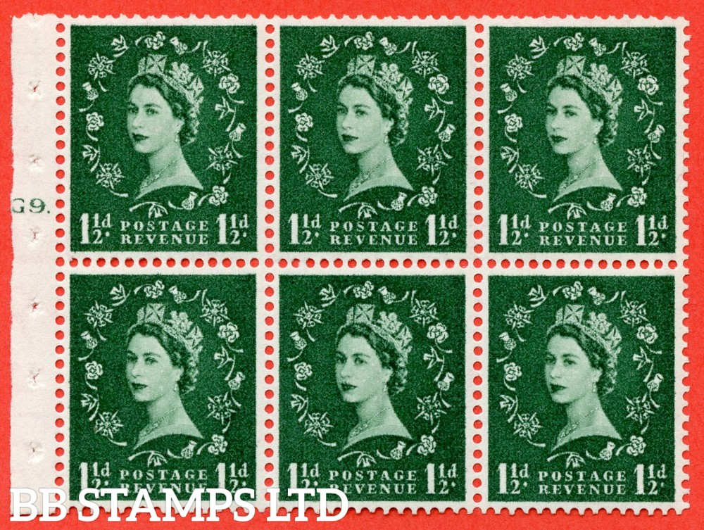 "SG. 542. SB62. 1½d green. A fine mounted mint cylinder "" G9 T dot "" booklet pane of 6. Perf type (Iet) with TRIMMED PERFS. Rough edge."