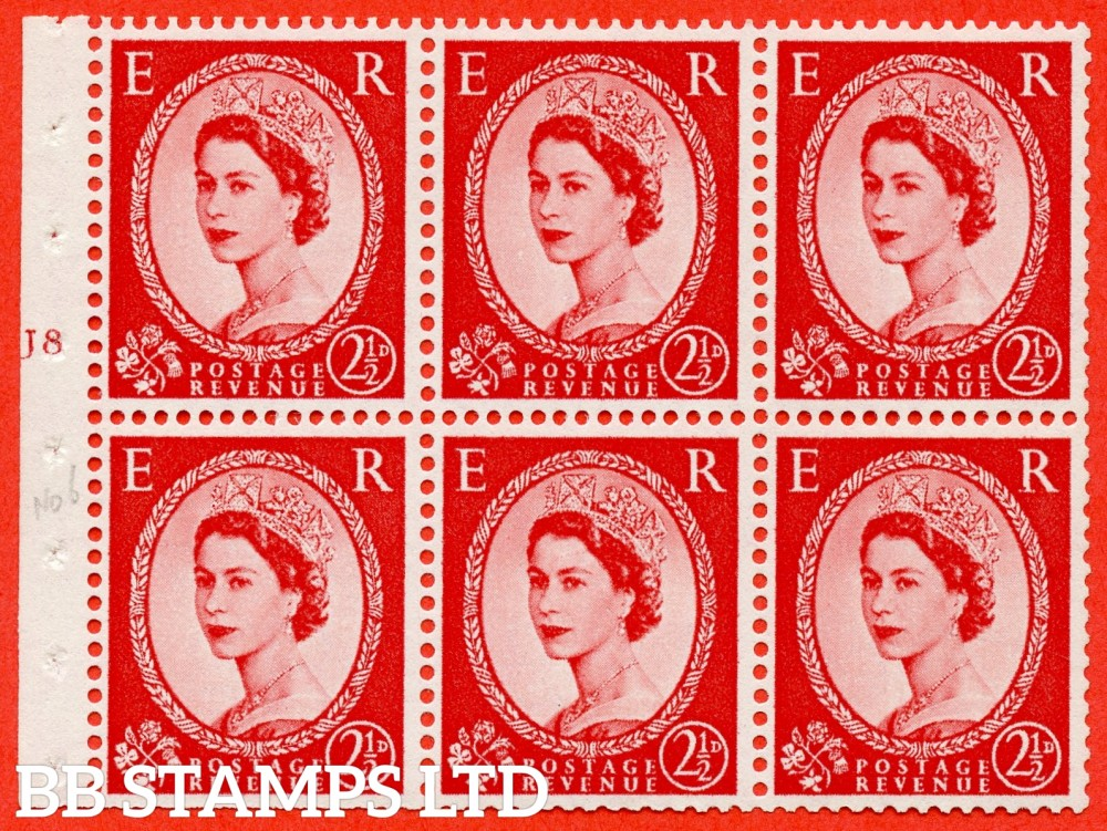 "SG. 544b. SB81. 2½d carmine - red. A fine mounted mint "" J8 T no dot "" booklet pane of 6. Perf type (I) with TRIMMED PERFS. Smooth edge."