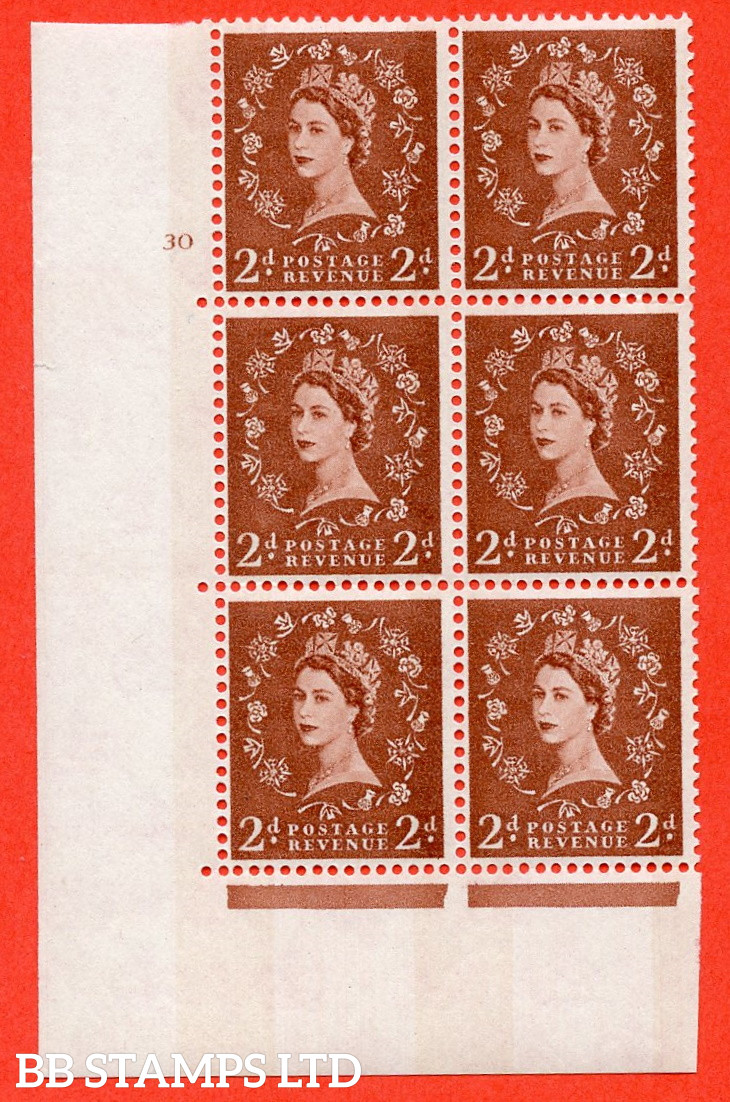 """SG.613a. S48. 2d Light red brown. A superb UNMOUNTED MINT """" cylinder 30 no dot """" control block of 6 with perf type A (E/I). violet Phosphor 8mm Band."""