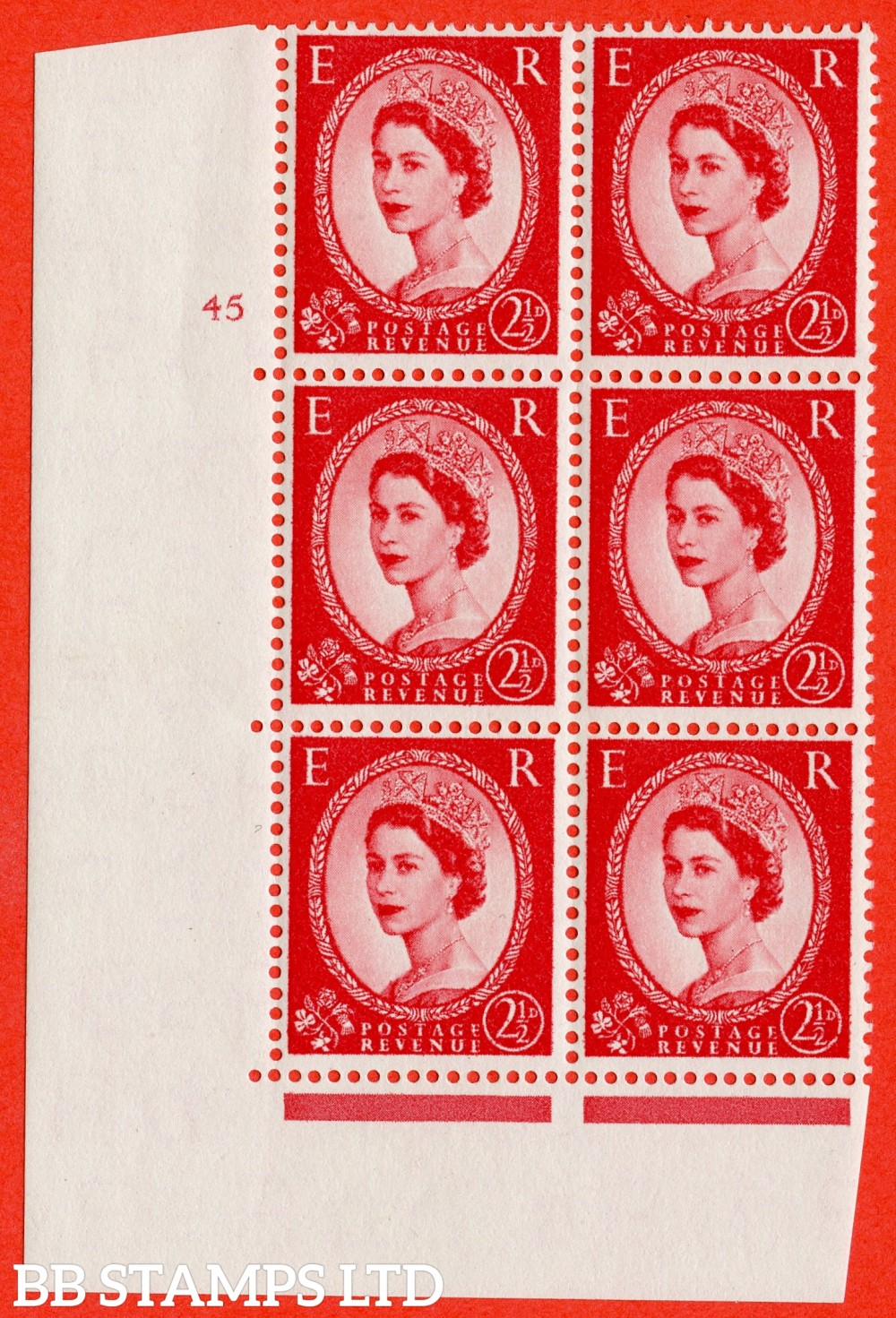 "SG. 544. S52. 2½d. Carmine - Red. A fine lightly mounted mint "" cylinder 45 no dot "" control block of 6 with perf type A E/I."