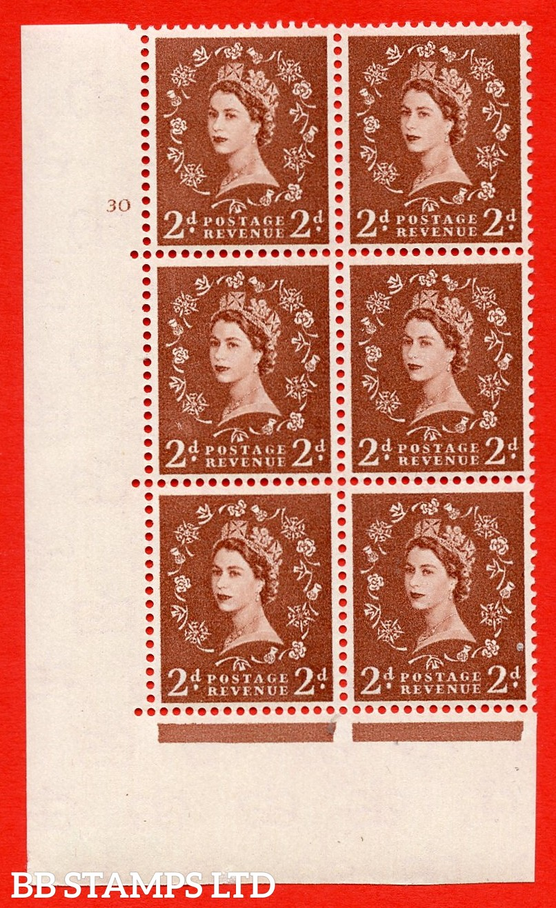 "SG. 573. S40. 2d light red brown. A superb UNMOUNTED MINT "" cylinder 30 no dot "" control block of 6 with perf type A E/I. CREAM paper."