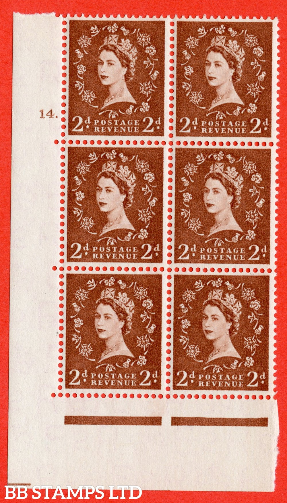 "SG. 543b. S38. 2d. Light Red-brown. A fine lightly mounted mint  "" cylinder 14 dot "" control block of 6 with perf type A E/I."