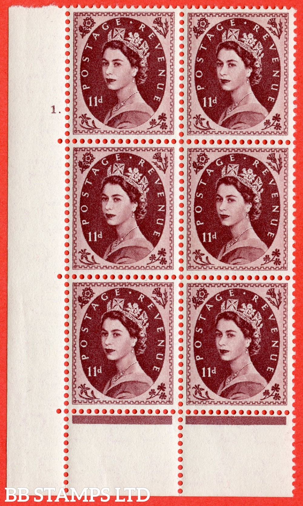 "SG. 553. S135. 10d. Brown - purple. A superb UNMOUNTED MINT "" cylinder 1 dot "" control block of 6 with perf type C E/P."