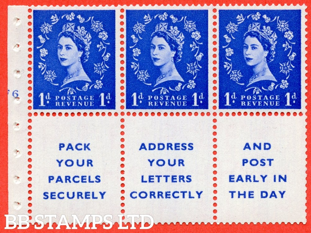 "SG. 541. SB29. 1d ultramarine. A fine UNMOUNTED MINT cylinder "" F6 no dot "" booklet pane of 6. Perf type (I) with GOOD PERFS. Smooth edge."