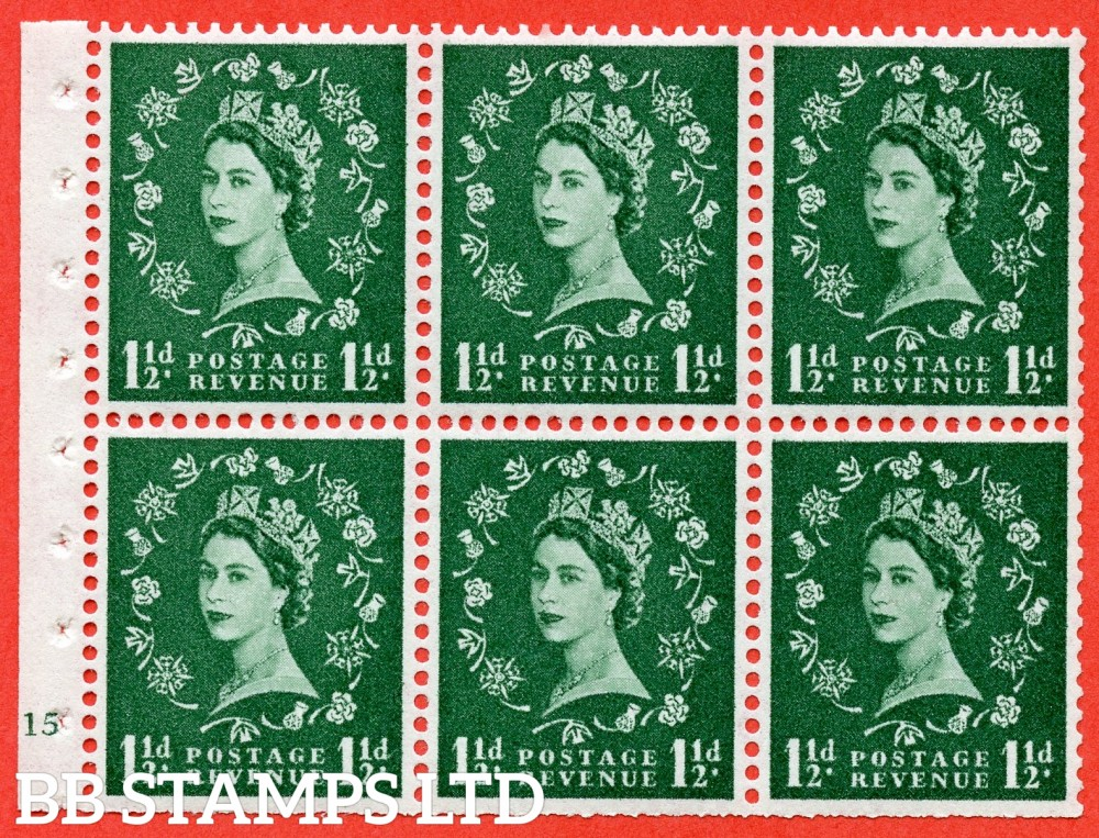 "SG. 572. SB66. 1½d Green. A fine UNMOUNTED MINT cylinder "" G15 no dot "" booklet pane of 6. Perf type (I) with TRIMMED PERFS. Smooth edge White paper."
