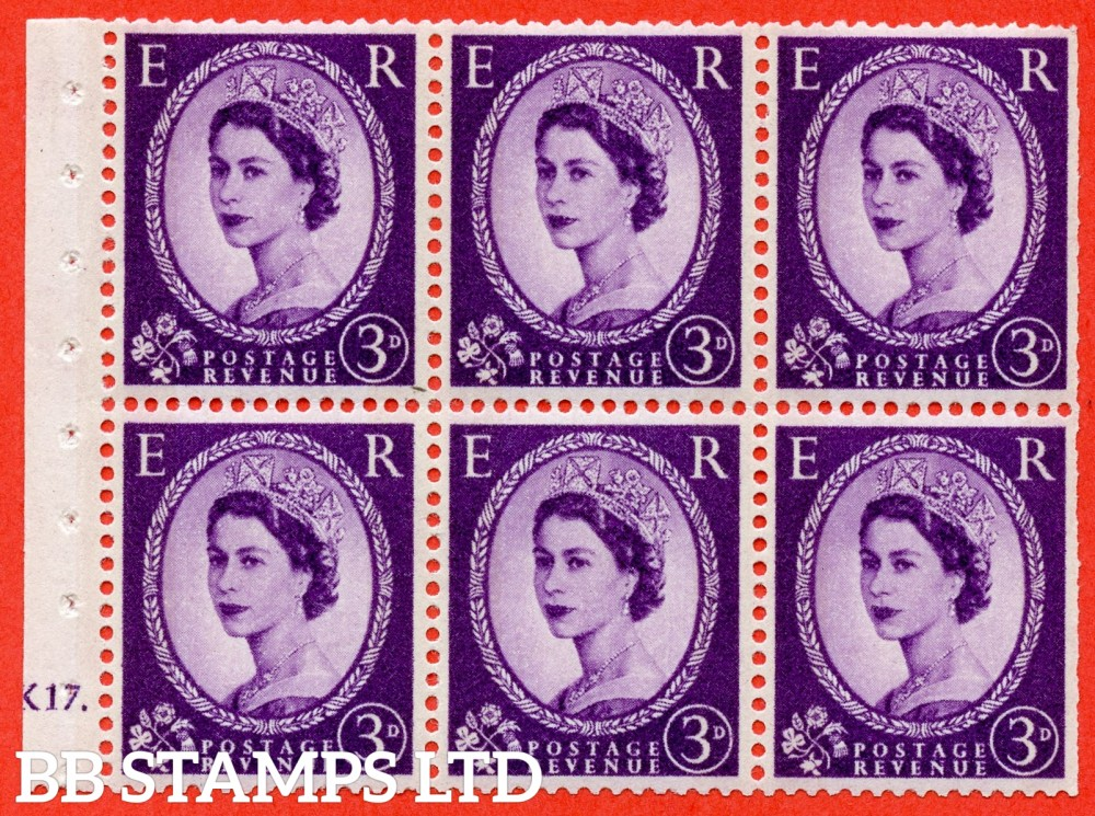 "SG. 615. SB98. 3d Deep Lilac. A fine UMNOUNTED MINTcylinder "" K17 dot "" booklet pane of 6. Perf type (Ieb) with TRIMMED PERFS. Smooth edge."