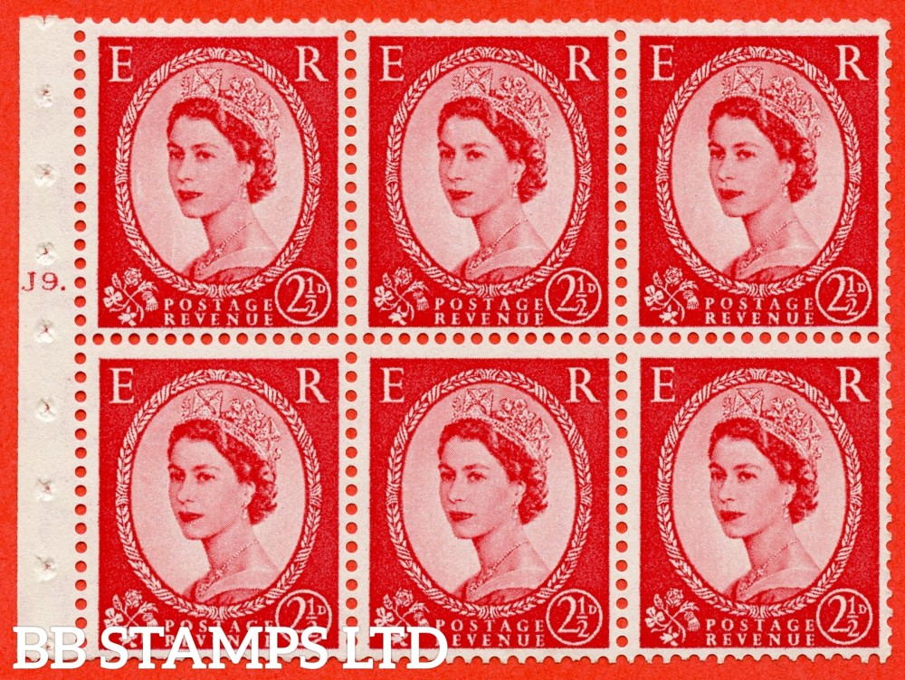 "SG. 544b. SB81. 2½d carmine - red. A fine UNMOUNTED MINT "" J9 T dot "" booklet pane of 6. Perf type (Ieb) with TRIMMED PERFS. Smooth edge."