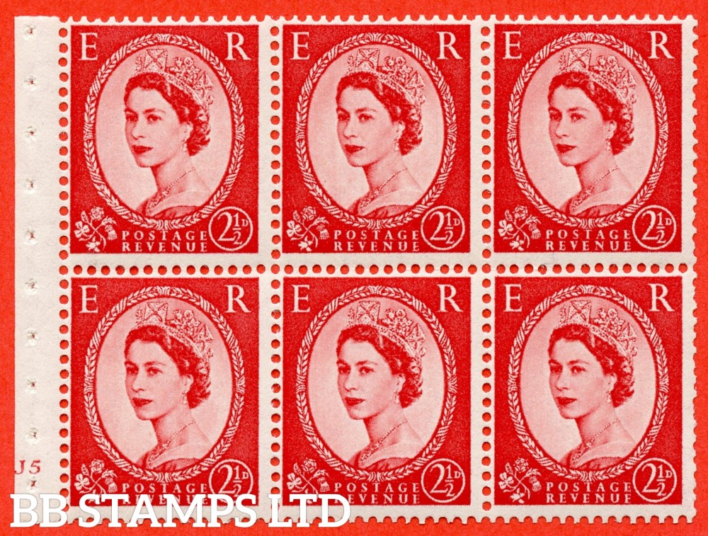 "SG. 544b. SB81. 2½d carmine - red. A fine UNMOUNTED MINT cylinder "" J5 no dot "" booklet pane of 6. Perf type (I) with TRIMMED PERFS. Smooth edge."