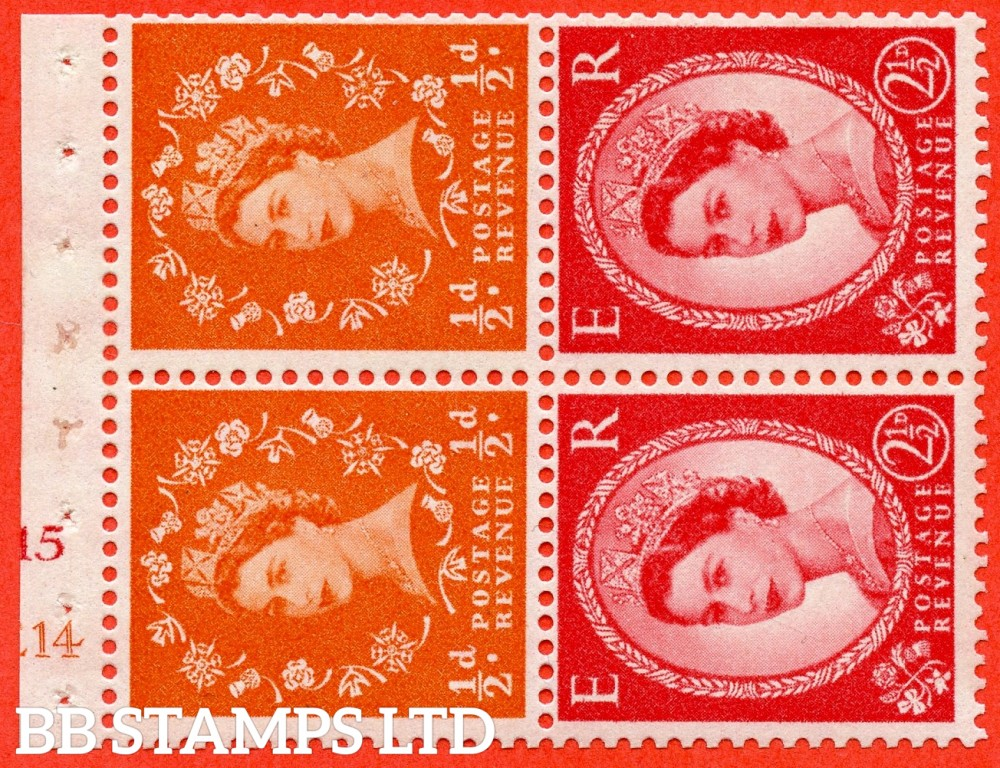 "SG. 570 / 574. SB13a. ½d Orange Red & 2½d Carmine Red Type II. A fine mounted mint cylinder "" E14 (½d) J15 (2½d) no dot "" booklet pane of 4. Perf type (I) with TRIMMED PERFS. Smooth edge. White paper."