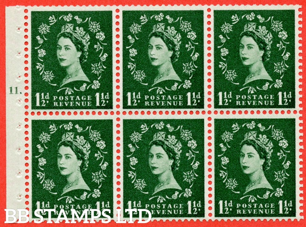 "SG. 572. SB65. 1½d green. A fine UNMOUNTED MINT cylinder "" G11 T dot "" booklet pane of 6. Perf type (Iet) with GOOD PERFS. Smooth edge. Cream paper."