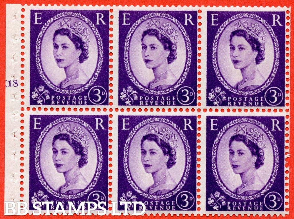 "SG. 615. SB104. 3d Deep Lilac. A fine UNMOUNTED MINT cylinder "" K18 T no dot "" booklet pane of 6. Perf type (I) with GOOD PERFS. Smooth edge."