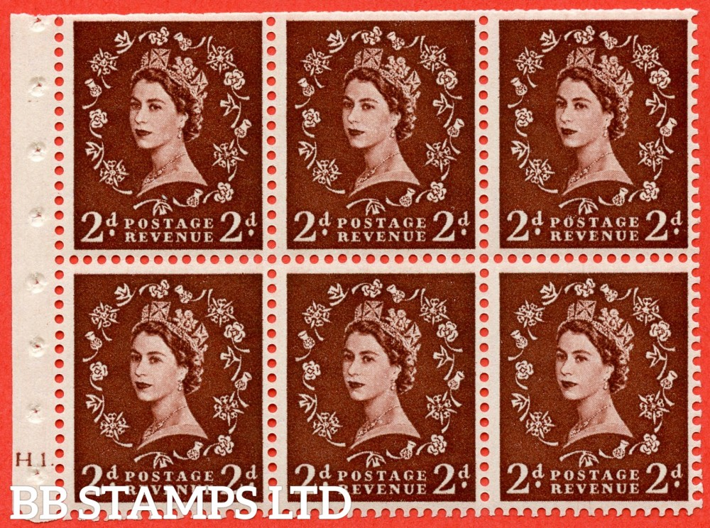 "SG. 518. SB76. 2d red - brown. A fine UNMOUNTED MINT cylinder "" H1 dot "" booklet pane of 6. Perf type (Ieb) with TRIMMED PERFS. Smooth edge."