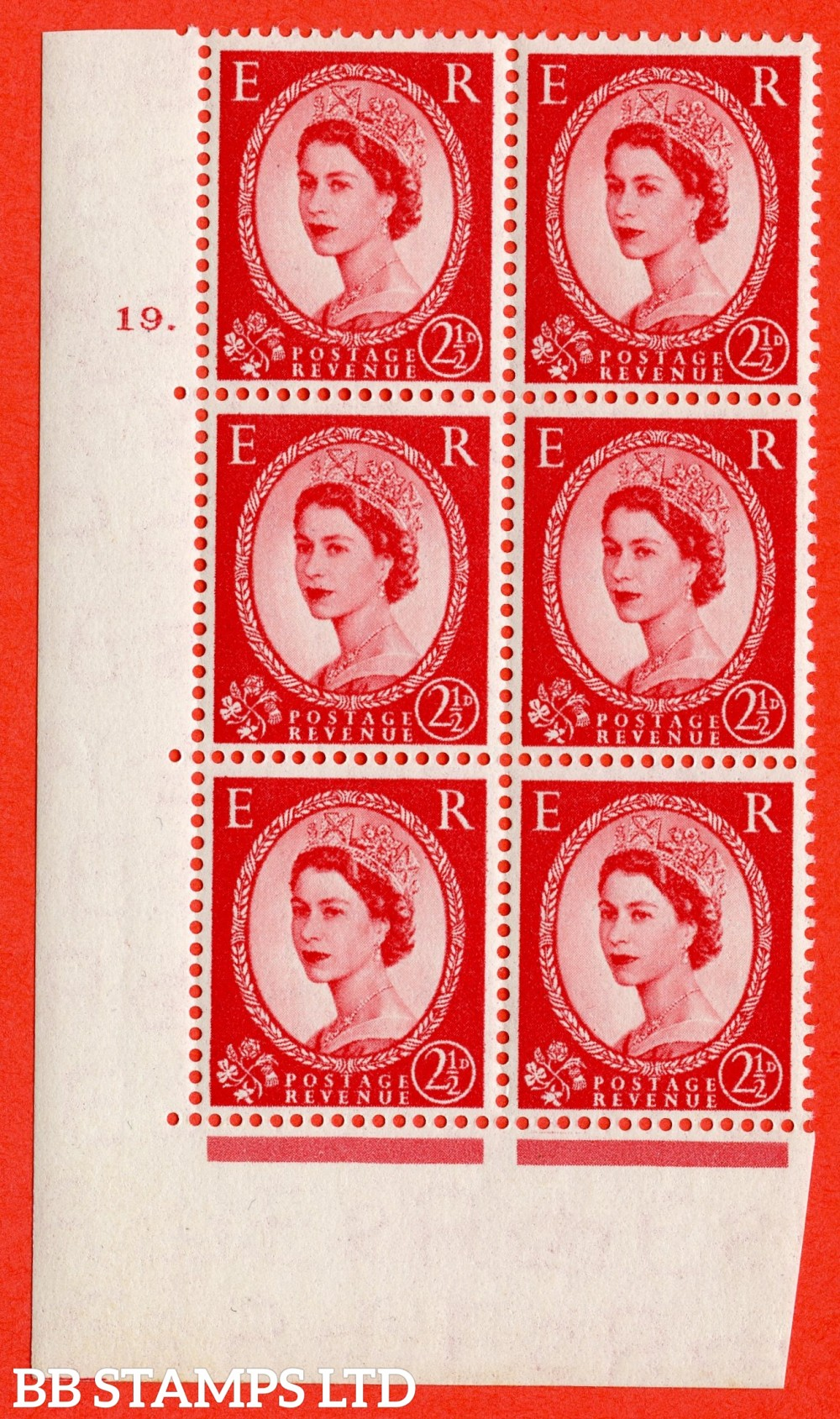 "SG. 519. S50. 2½d Carmine Red. A superb UNMOUNTED MINT "" cylinder 19 dot "" control block of 6 with perf type A E/I."