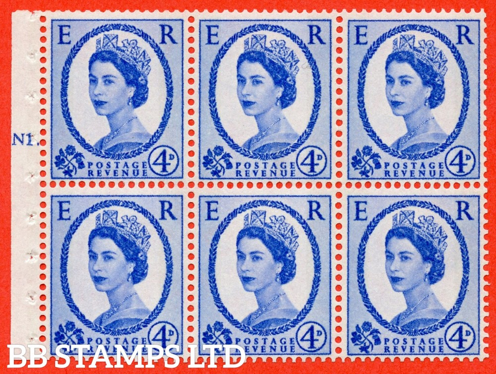 "SG. 616. SB107. 4d Ultramarine. A fine UNMOUNTED MINT cylinder "" N1 T dot "" booklet pane of 6. Perf type (Iet) with GOOD PERFS. Smooth edge. White Paper."