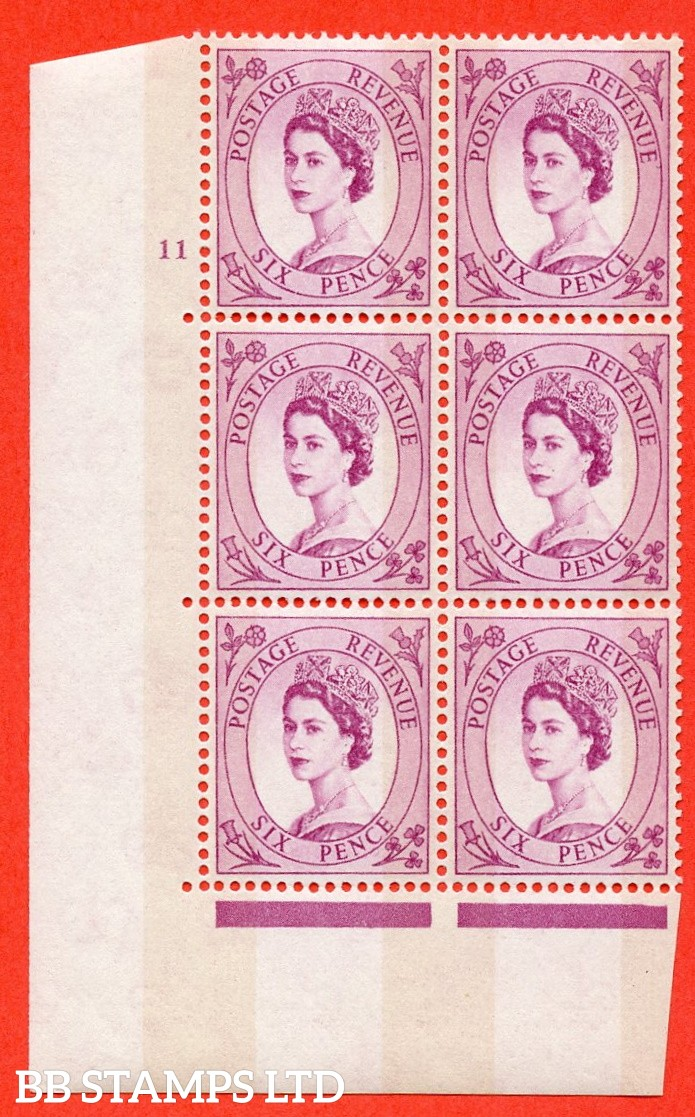 "SG.617. S117. 6d Deep Claret. A superb UNMOUNTED MINT "" cylinder 11 no dot "" control block of 6 with perf type A (E/I). violet Phosphor 9½mm Band."