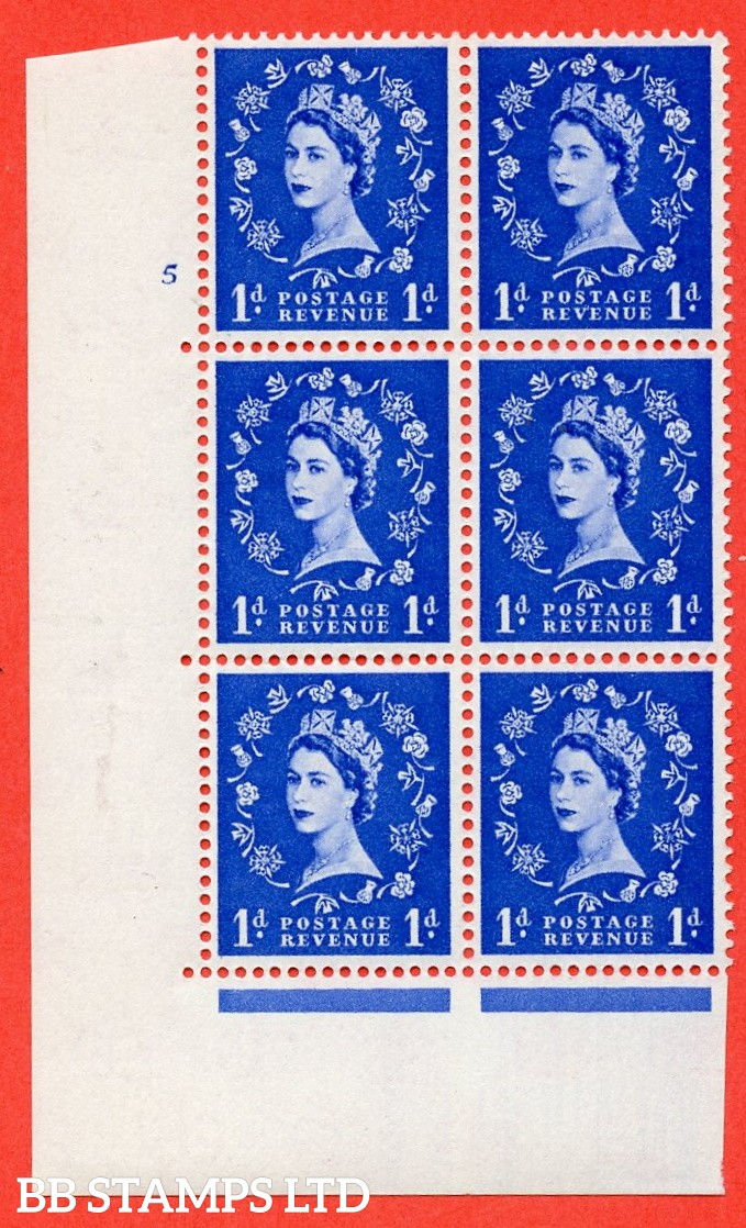 "SG. 571. S16. 1d Ultramarine. A superb UNMOUNTED MINT "" cylinder 5 no dot "" control block of 6 with perf type A E/I. CREAM paper."