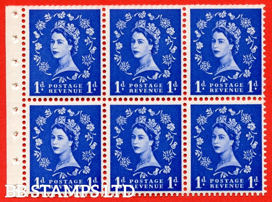 SG. 516L. SB20. 1d ultramarine. A fine UNMOUNTED MINT example. Complete Booklet pane of 6. Perf Type Iet. Trimmed Perfs.