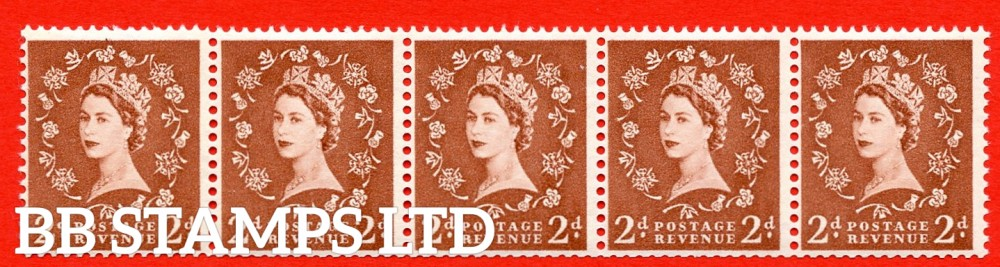 "SG.613a. S49c. 2d Light Red Brown. A superb UNMOUNTED MINT example. Coil strip of 5. Sideways watermark. violet Phosphor 9½mm Band. With a extra leg to ""R"" ERROR. Roll 2 variety."