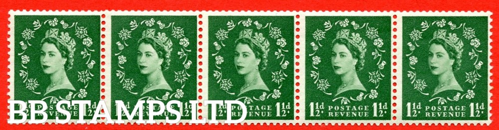 SG. 542a. S26s. 1½d. Green. A superb UNMOUNTED MINT example. coil strip of 5. WATERMARK sideways left. With a Daffodil flaw. ERROR. Roll 8 variety.