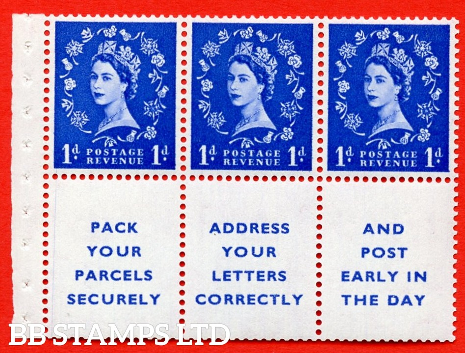 SG. 516La. SB25. 1d ultramarine. A fine MOUNTED MINT Complete booklet pane of 6. Perf type (IR) with Good PERFS.
