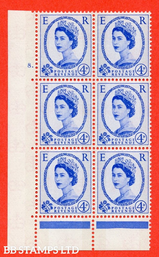 "SG.616. S89. 4d Ultramarine. A fine mounted mint "" cylinder 8 dot "" control block of 6 with perf type C (E/P). Blue Phosphor Cream paper."