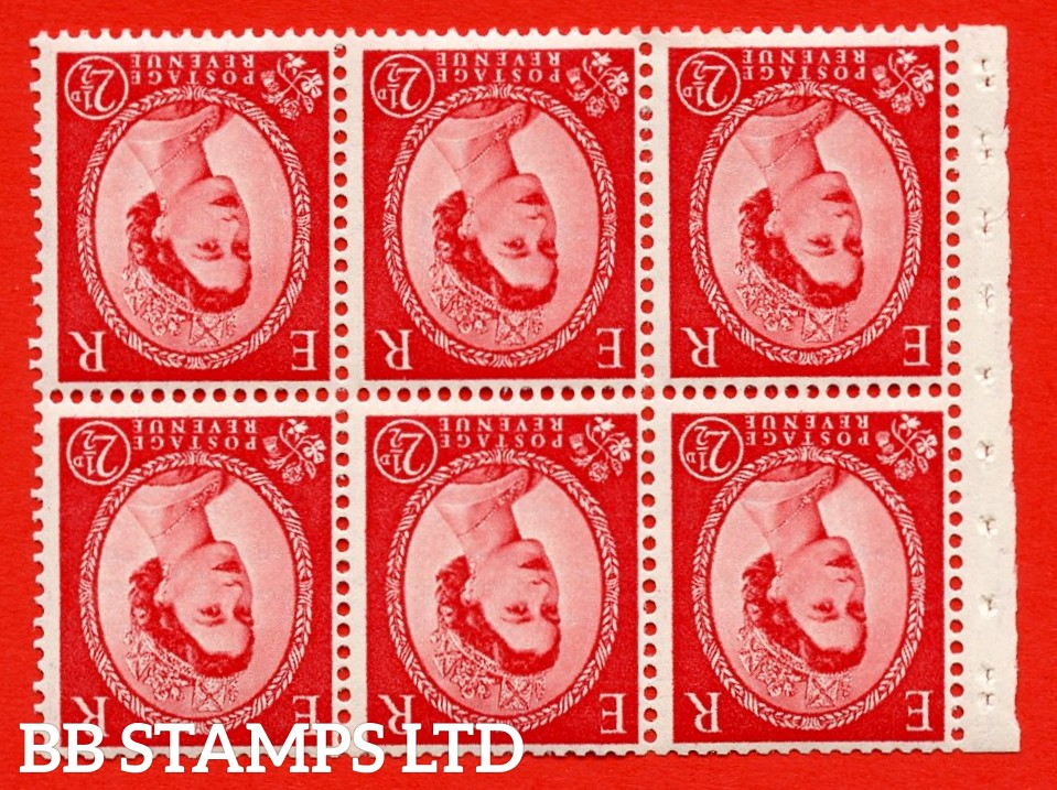SG. 519bwi SB80. 2½d carmine - red. A fine UNMOUNTED MINT. WATERMARK INVERTED Complete booklet pane of 6. Perf type (IR) with Trimmed PERFS.