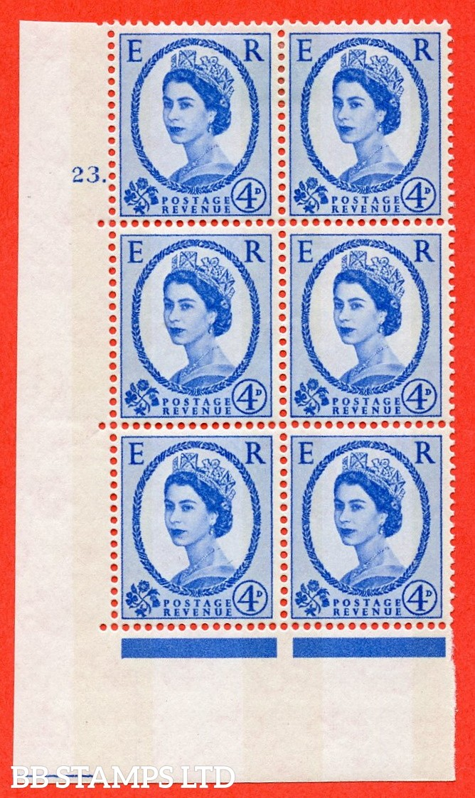 "SG.616a. S92. 4d Deep Ultramarine. A fine mounted mint "" cylinder 23 dot "" control block of 6 with perf type A (E/I). violet Phosphor 9½mm Band."