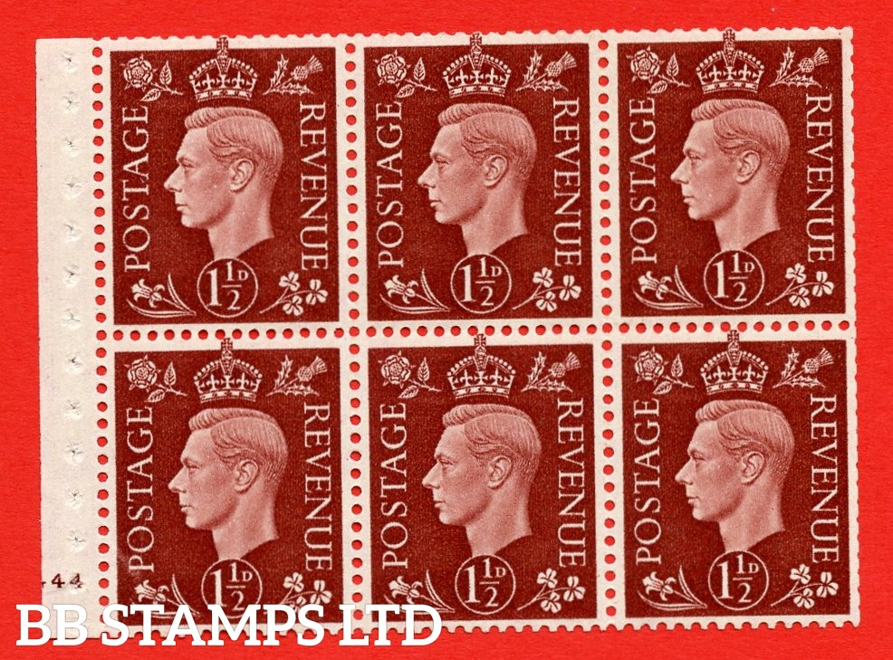 QB21 Perf Type B3(I) 1½d Red-Brown x 6 Pane, MOUNTED MINT Watermark Upright. Cylinder Pane G44 no dot ( SG. 464c ) Perf type B3(I). Trimmed Perfs.