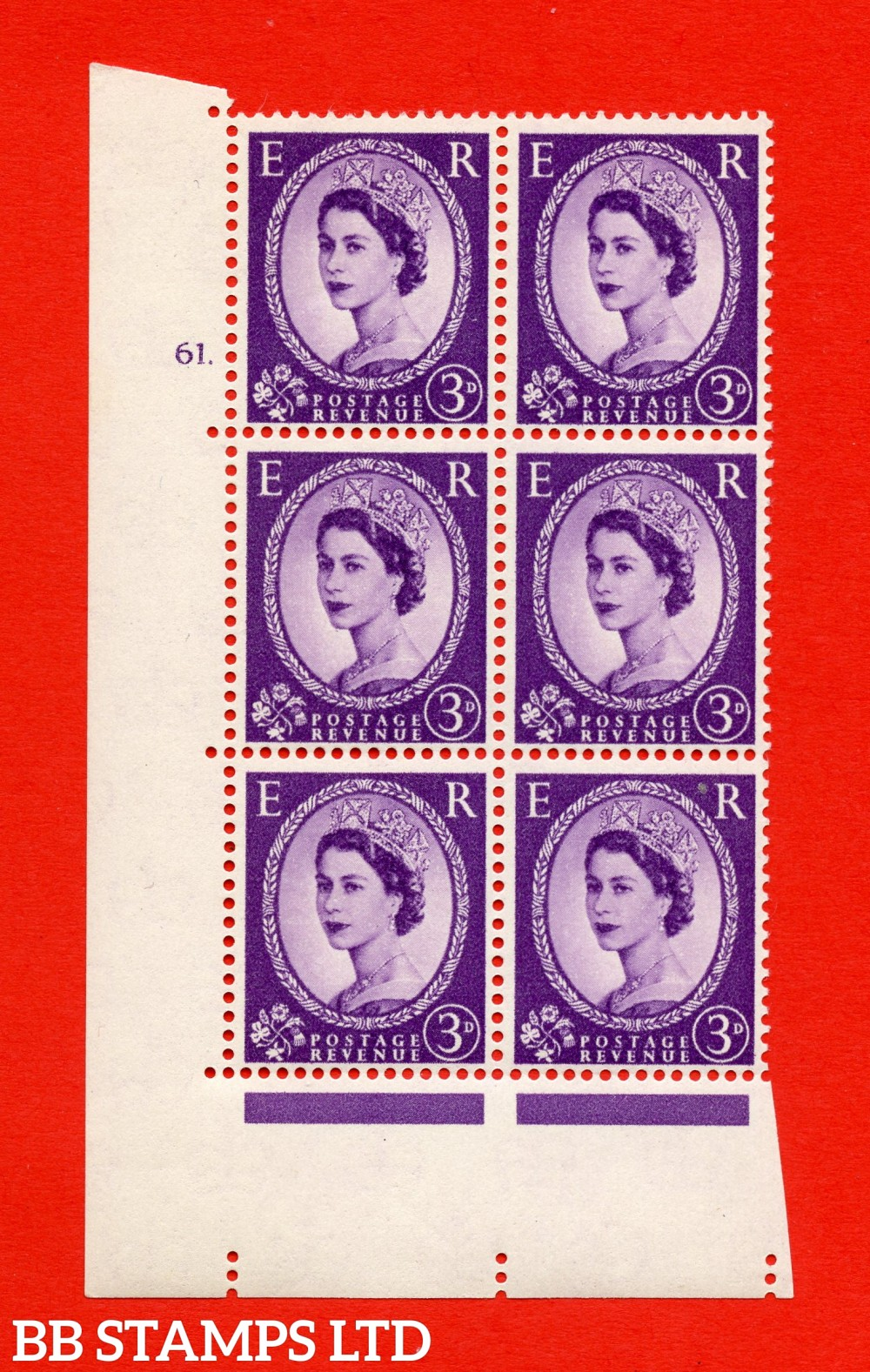 "SG. 575. S70. 3d Deep lilac.Type I. A superb UNMOUNTED MINT "" cylinder 61 dot "" control block of 6 with perf type A E/I. CREAM paper."