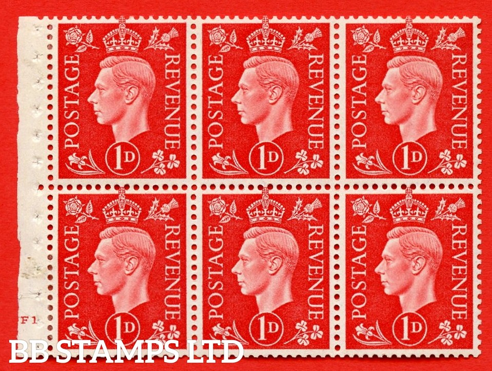 SG. QB10 Perf Type B4(E) 1d Scarlet x 6 Pane, MOUNTED MINT Watermark Upright. Cylinder Pane F1 no dot ( SG. 463b ) Perf Type B4(E). Good Perfs.