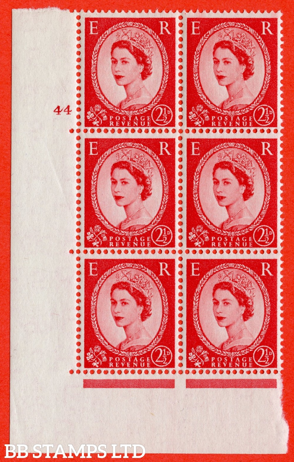 "SG. 544. S52. 2½d. Carmine - Red. A fine lightly mounted mint "" cylinder 44 no dot "" control block of 6 with perf type A E/I."