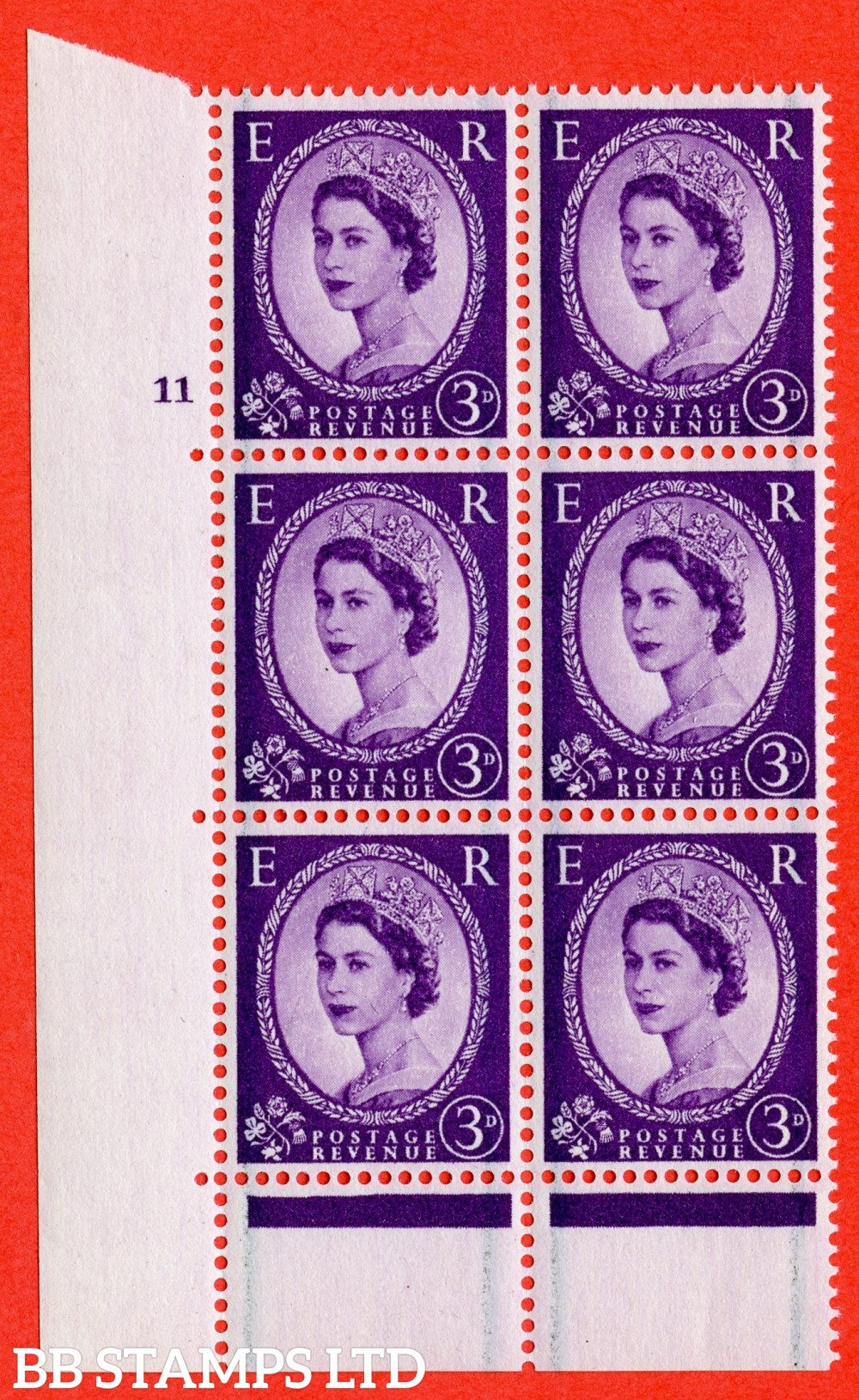 "SG. 566. S69. 3d Deep Lilac. A superb UNMOUNTED MINT"" cylinder 11 no dot "" control block of 6 with perf type C E/P."