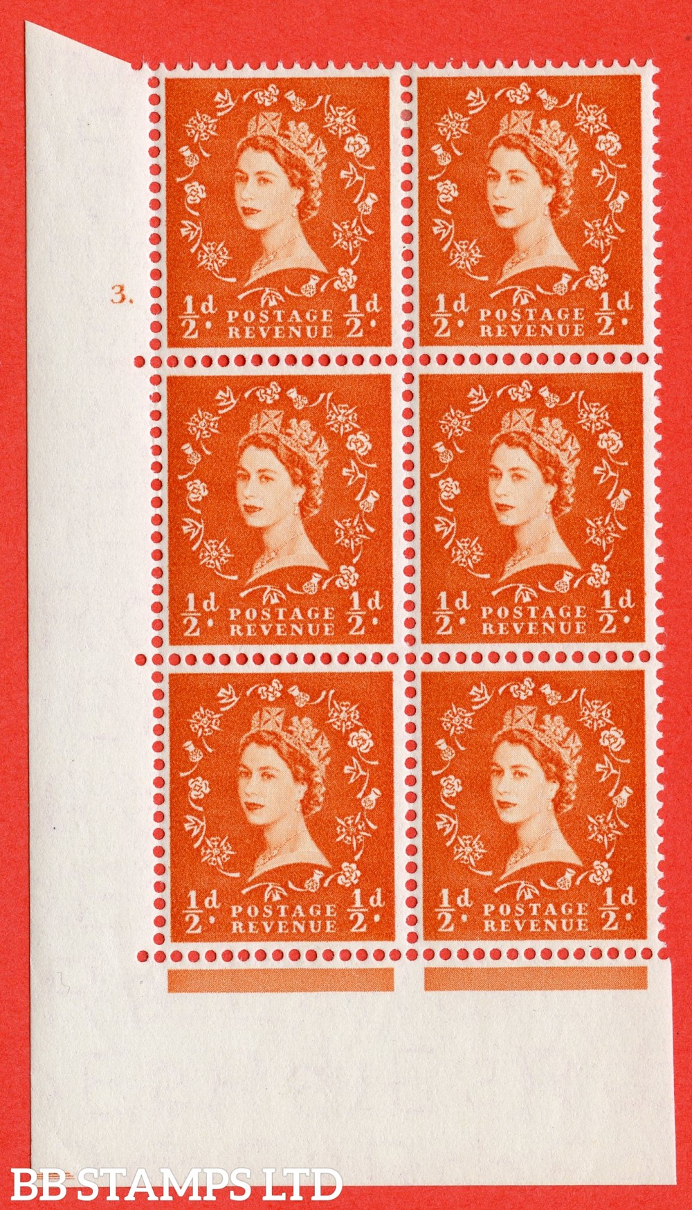 "SG. 540. S2. ½d. Orange-red. A fine lightly mounted mint "" cylinder 3 dot "" control block of 6 with perf type A E/I"
