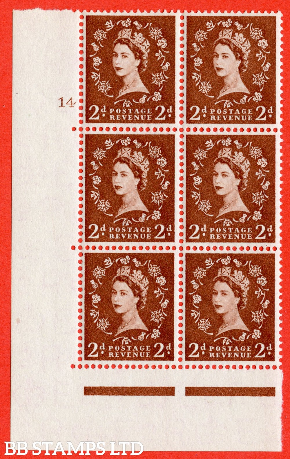 "SG. 543b. S38. 2d. Light Red-brown. A superb UNMOUNTED MINT "" cylinder 14 no dot "" control block of 6 with perf type A E/I."