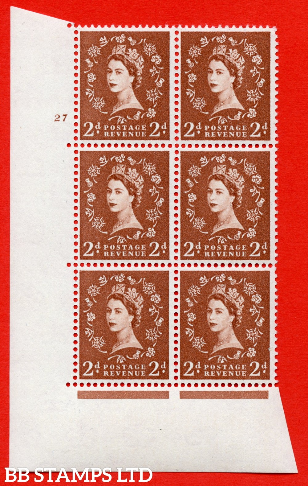 "SG. 573. S40. 2d light red brown . A superb UNMOUNTED MINT "" cylinder 25 dot "" control block of 6 with perf type A E/I. CREAM paper."