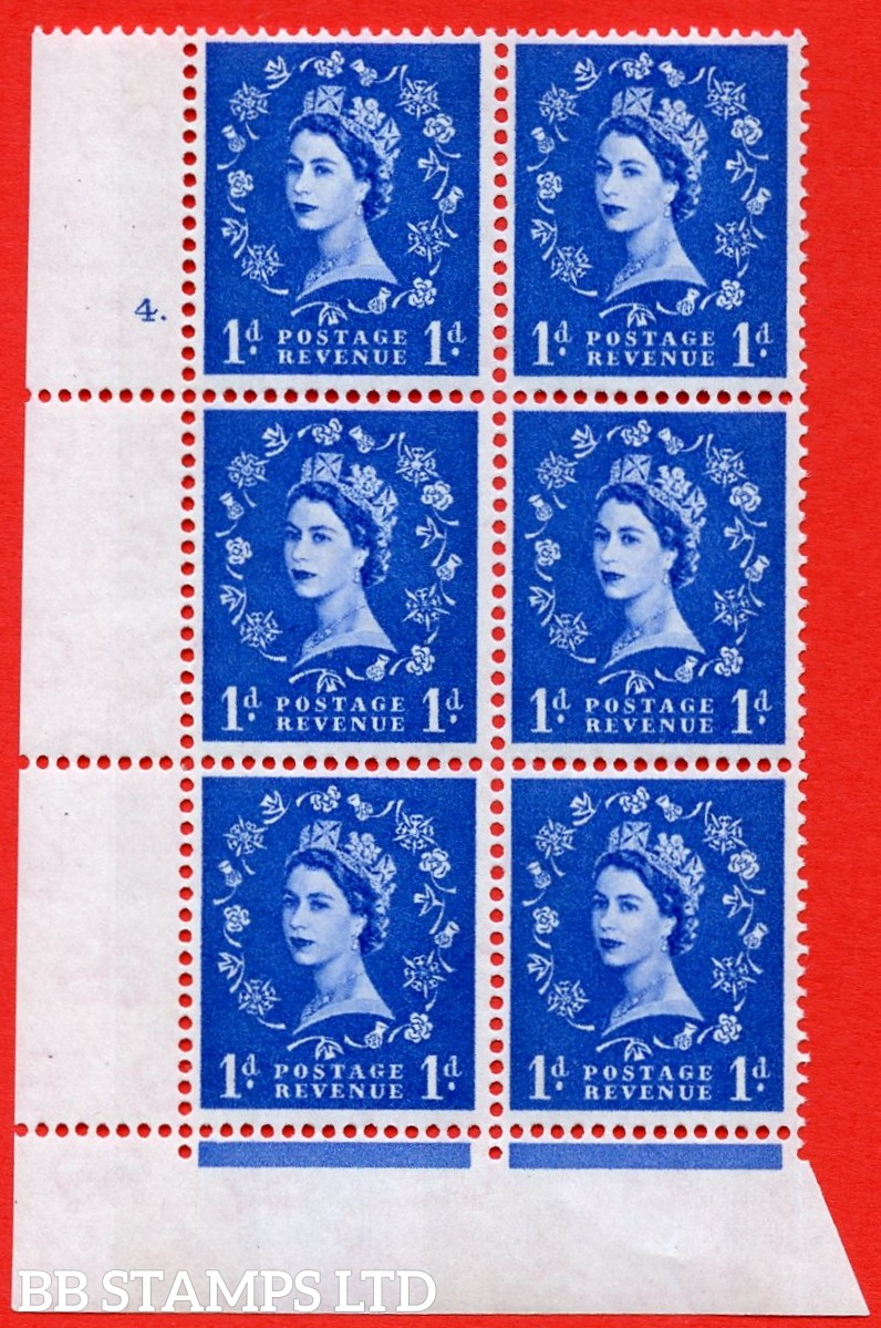 "SG.611. S24. 1d Ultramarine. A superb UNMOUNTED MINT "" cylinder 4 dot "" control block of 6 with perf type Fl (P/E). violet Phosphor 9½mm Band."