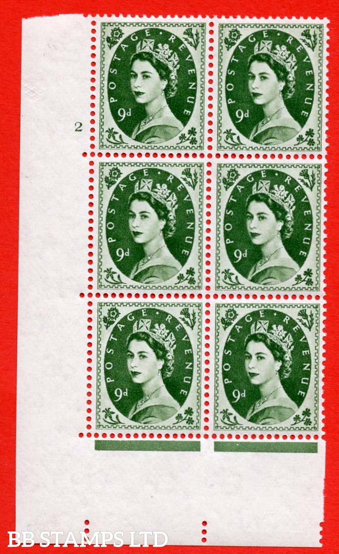 """SG S126. 9d Bronze Green  A superb UNMOUNTED MINT """" cylinder 2 no dot """" control block of 6 with perf type A (E/I)."""