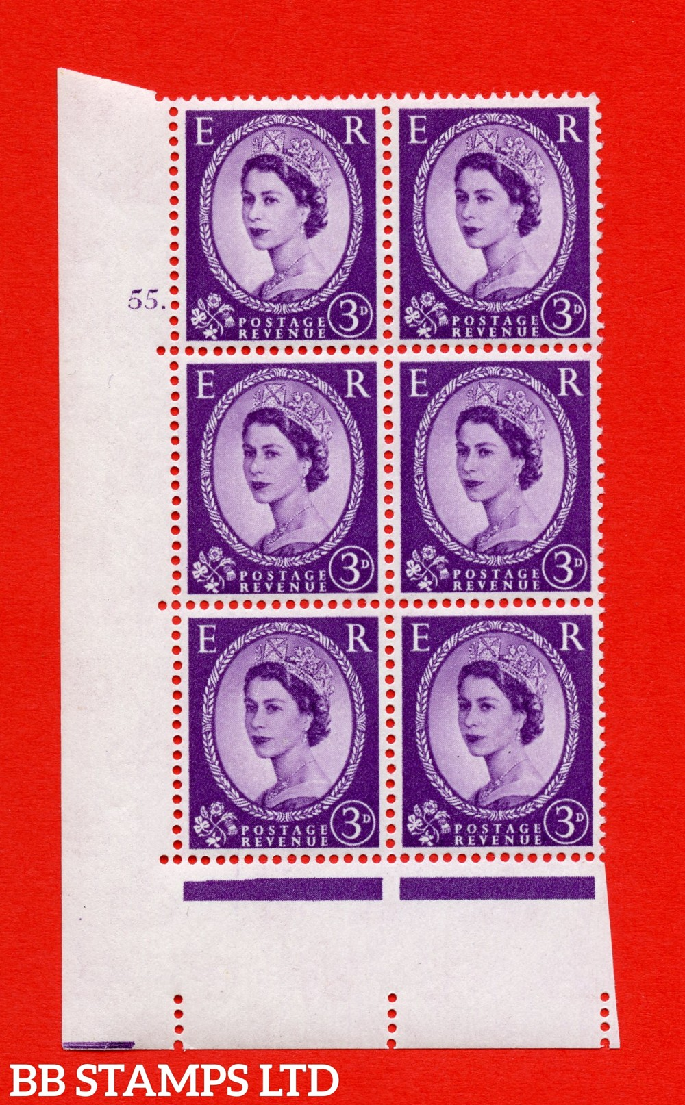 "SG. 575. S70. 3d Deep lilac.Type I. A superb UNMOUNTED MINT "" cylinder 55 dot "" control block of 6 with perf type A E/I. CREAM paper."