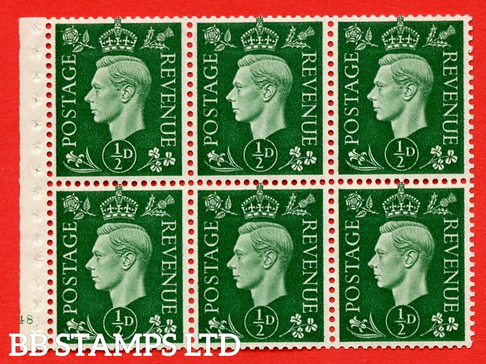 SG. QB1 Perf Type B3(I). ½d Green x 6 Pane, MOUNTED MINT Watermark Upright. Cylinder Pane E48 no dot ( SG. 462b ) Perf Type B3(I). Good Perfs.