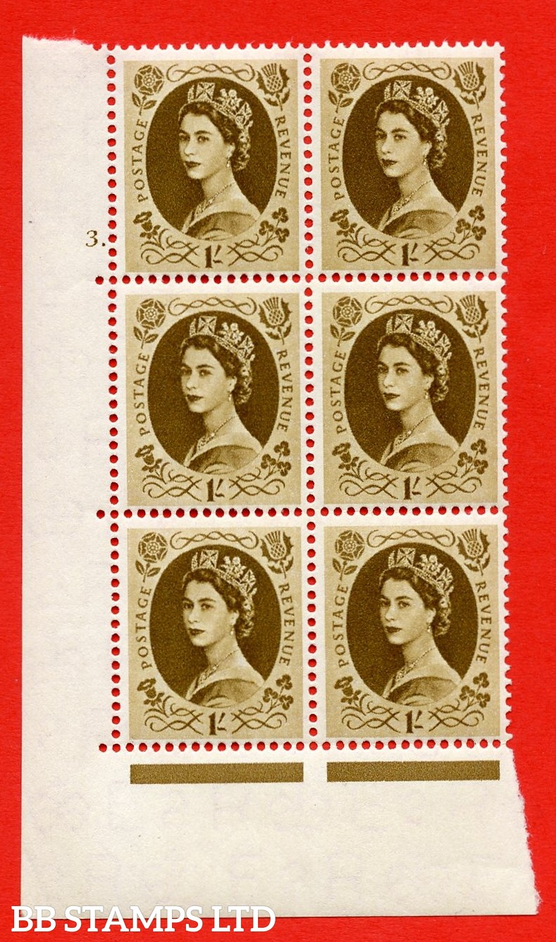 "SG. 554. S137. 1/- Bistre - brown. A superb UNMOUNTED MINT "" cylinder 3 dot "" control block of 6 with perf type A E/I."