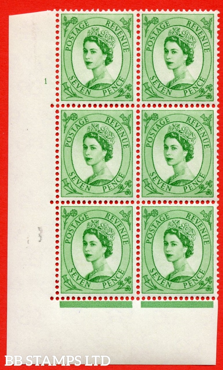 """SG S116. 7d Bright Green  A superb UNMOUNTED MINT """" cylinder 1 no dot """" control block of 6 with perf type A (E/I)."""