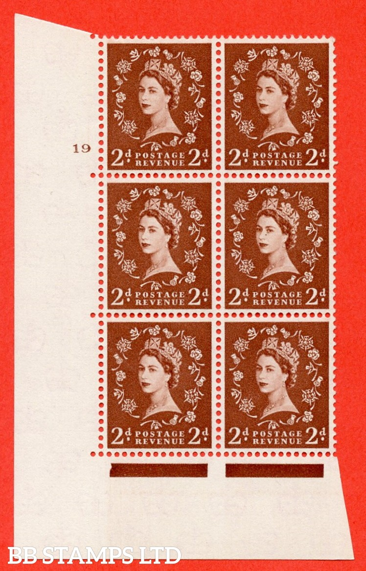 "SG. 573. S40. 2d light red brown . A superb UNMOUNTED MINT "" cylinder 19 no dot "" control block of 6 with perf type A E/I. CREAM paper."